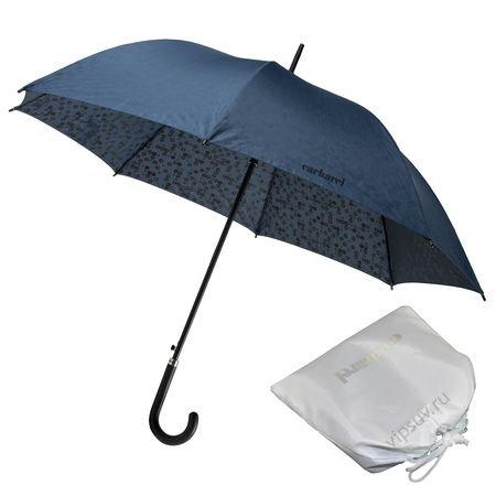 Зонт трость с двойным рисунком - внешняя сторона насыщенного синего...